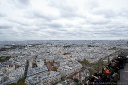 View of Northwest Paris & Tourists Gather on the Eiffel Tower Second Floor.jpg